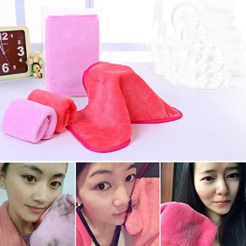 Makeup Remover Cloth, Staron Makeup Face Cleansing Towel Reusable Microfiber Face Make Up Cloths Pads (Pink)