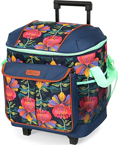 Arctic Zone 44-81452-00-08 Hot Cold Insulated Rolling Tote, 44 Can Capacity, Cabanan Blossom – Blue