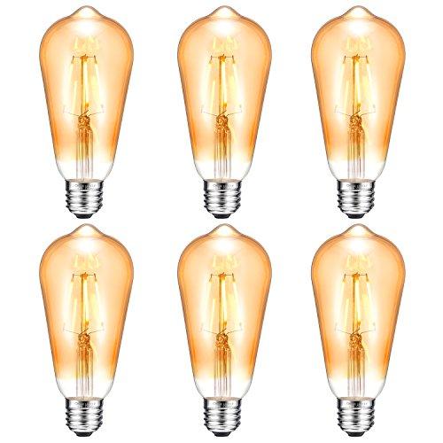 Antique LED Bulb, Oak Leaf 4W ST64 Vintage Antique Style Edison Bulb E26 2200K Warm White LED Light 40W Equivalent, 400lm, Amber Glass, Pack of 6