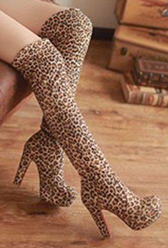 Aisun Dames Sexy Ronde Neus Platform Dikke Hoge Hak Jurk Overknee Hoge Slip Op Hoge Laarzen Schoenen Leopard
