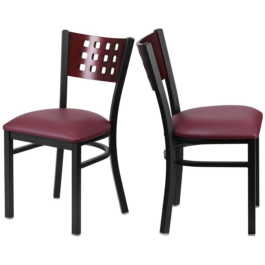 Modern Style Metal Dining Chairs Bar Restaurant Commercial Seats Mahogany Wood Cutout Back Design Black Powder Coated Frame Home Office Furniture - (1) Burgundy Vinyl Seat #2206 by KLS14 (Image #5)