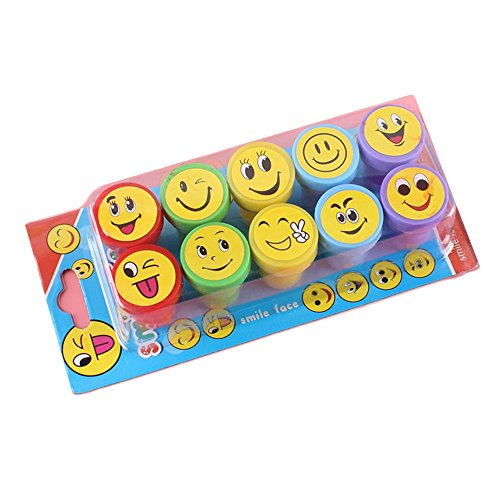 10 Pcs Christmas Assorted Stampers Great for Kids Birthday Party Favors, Goody Bags, School Prizes and Teacher (Top 10 Halloween Face Paint)