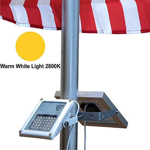 ALPHA 180X Flag Pole Light (Warm White LED) for Solar Flagpole Lighting / Cast Iron Street Light Style Doubled as Floodlight / U-Bracket Fits Max Pole Diameter 2.5