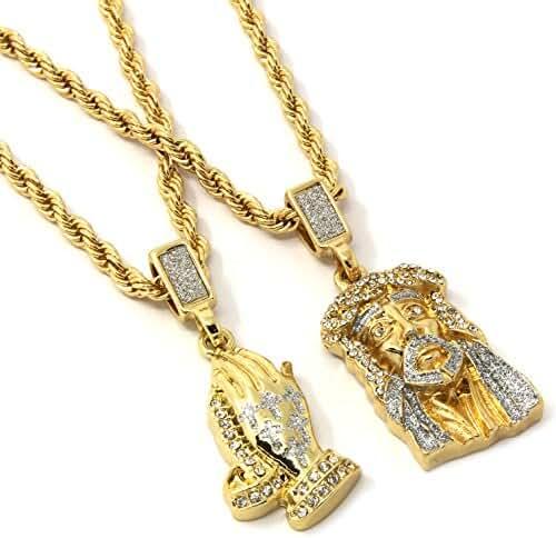 Mens Gold Two Piece Jesus & Prayer Hand Set Pendant Hip Hop 24