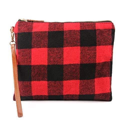 (Fabric Multifunction Portable Travel Organizer Bag - Cosmetic Makeup Pouch/Toiletry Purse/Print School Pencil Case/Metallic Zip Clutch/Striped Wristlet (Flannel Plaid - Red/Black))