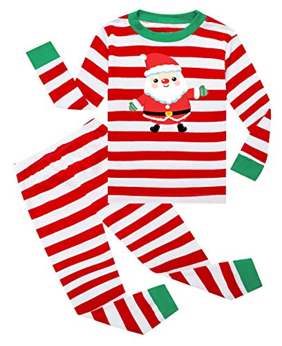Lymanchi Kid Boys Pajamas Christmas Cotton Striped Cute Unisex Sleepwear Set 2-7Y 146 Santa Red 4T