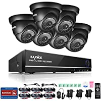 SANNCE 8CH 1080N Security Camera System DVR and (6) 720P Night Vision Surveillance Cameras with IP66 Weatherproof , P2P Technology/E-Cloud Service -- No HDD