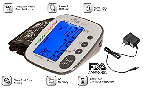 Care Touch Fully Automatic Upper Arm Digital Blood Pressure Monitor with AC Adapter - Platinum Series, Medium to Large Cuff - Batteries - Automatic Arm