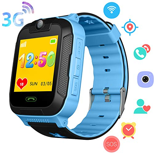 3G Kids Smart Watch Phone for Boys Girls - GPS/Wi-Fi/LBS Locator Pedometer Fitness Smartwatch Tracker with Touch Camera 2 Way Call SOS Voice Chat Games Alarm Clock Wrist Watch Children Gifts (Blue)