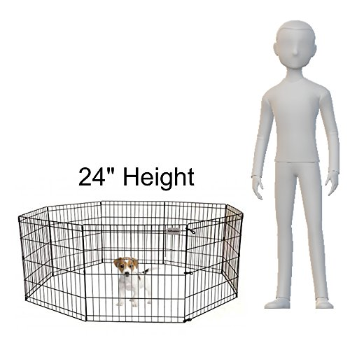 PetPremium-Dog-Puppy-Playpen-Pen-Indoor-Outdoor-Exercise-Play-Yard-Outside-Pet-Small-Animal-Puppies-Portable-Foldable-Fence-Enclosures-24-Height-8-Panel-Metal-Wire-Black