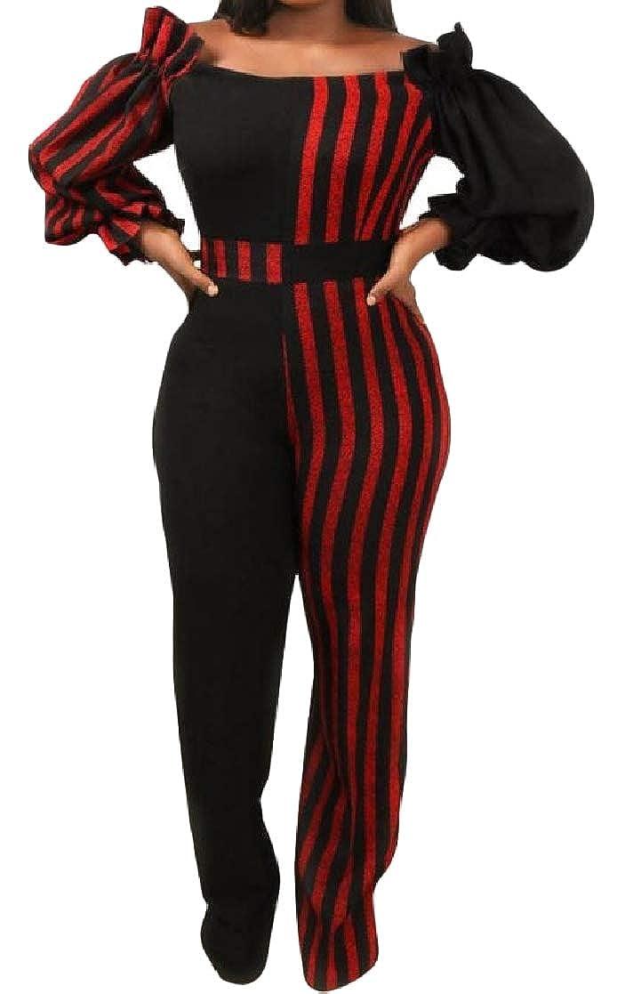 YUNY Women Patchwork Strip Lantern Sleeve Word Shoulder Jumpsuit Romper Black M