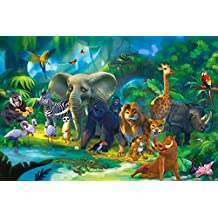 Jungle animals photo wall paper – safari mural – XXL jungle wall decoration children room 55 Inch x 39.4 Inch (140 cm x 100 cm)