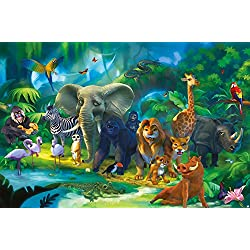 Wall Mural Kid's Room Jungle Animals Mural Decoration Jungle Animals Zoo Nature Safari Adventure Tiger Lion Elephant Monkey I paperhanging Wallpaper poster wall decor by GREAT ART (82.7x55 Inch)