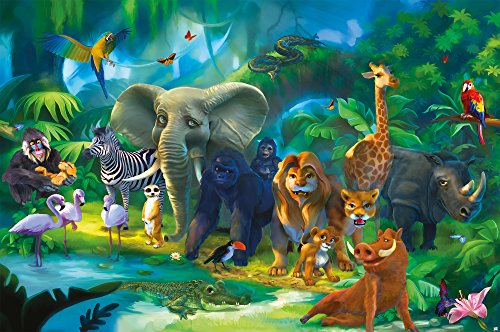 GREAT ART Wallpaper Kid's Room Jungle Animals - Wall Decoration Zoo Nature Safari Poster Adventure Tiger Lion Elephant Monkey (82.7x55 Inch)