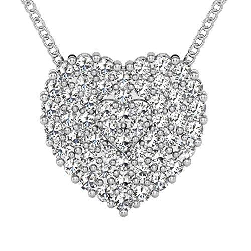 Heart Diamond Pendant necklace Round Diamonds 0.20 carat,14k white gold. ()