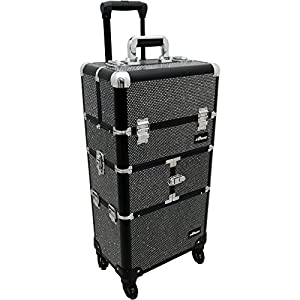 Sunrise I3464 Professional 2-in-1 Rolling Makeup Artist Cosmetic Train Case Organizer Storage, Krystal Black