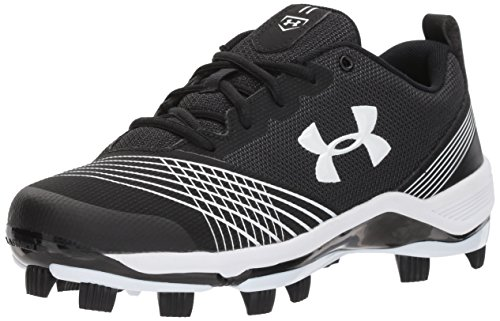 Under Armour Women's Glyde TPU Softball Shoe, Black (011)/White, (Lightweight Softball Cleats)