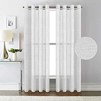 Amazon.com: Best Dreamcity Faux Linen Sheer Curtains for Bedroom ...