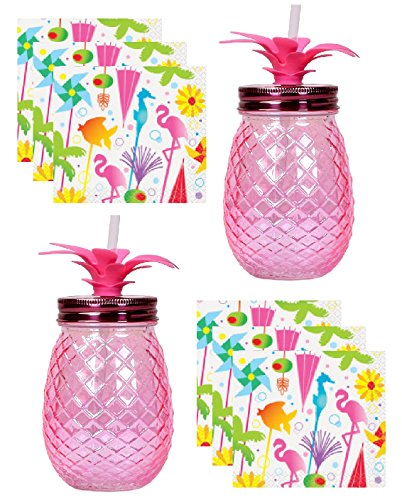 Pineapple Glass Mason Jar Style Sipper (Set of 2) Pineapple Flamingo Palm Tree Theme Cocktail (Flamingo Goblet Set)