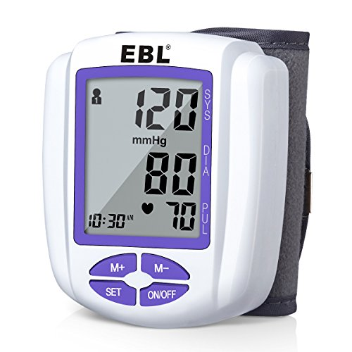 EBL Automatic Wrist Blood Pressure Monitor, Large LCD Display, 4 User Mode with Blood Pressure Cuff and Storage Case - FDA Approved