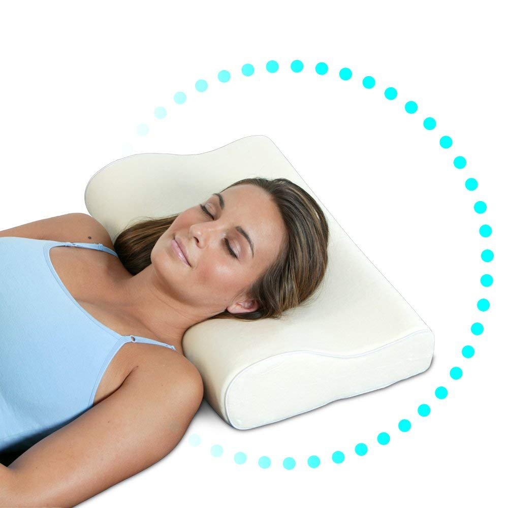 Daiwa  USJ-911 Sleep Eze Orthopedic Contour Pillow; Made With Visco-Elastic Memory Foam Material; Hypoallergenic; Naturally Antimicrobial; Resistant To Mold, Dust Mites, and Other Bacteria