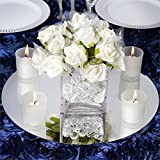 Efavormart 14'' Round Glass Mirror Wedding Party Table Decorations Centerpieces - 4 PCS