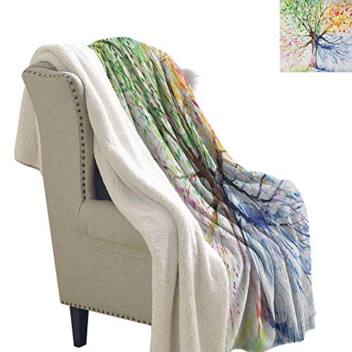 Tree Super Soft Blanket for Coach Sofa,Bed Watercolor Style Artistic Tree with Colorful Blooming Branches Four Seasons Theme Lightweight Fluffy Flannel and Sherpa Blanket 60x32 ()