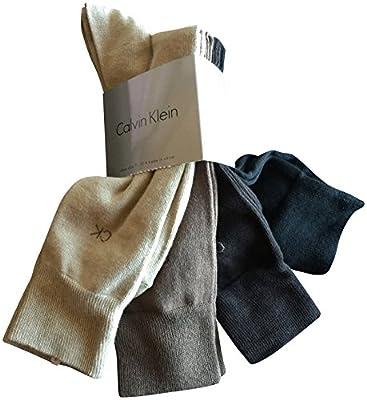 Calvin Klein Men's Dress Socks Cotton 4 Pack Beige Brown Black