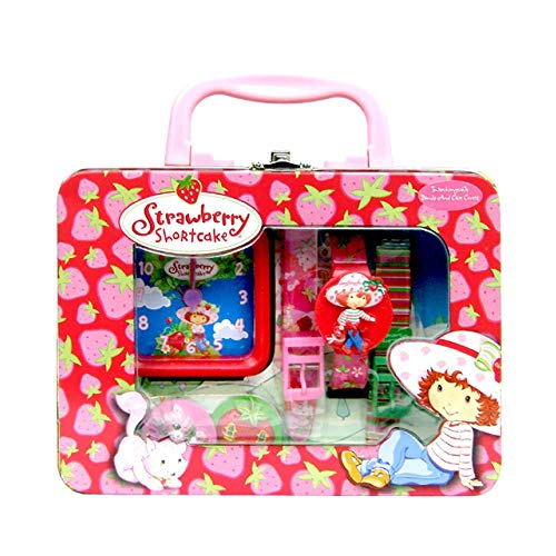 Strawberry Shortcake Wrist Watch Alarm Clock in Decorated Tin Box