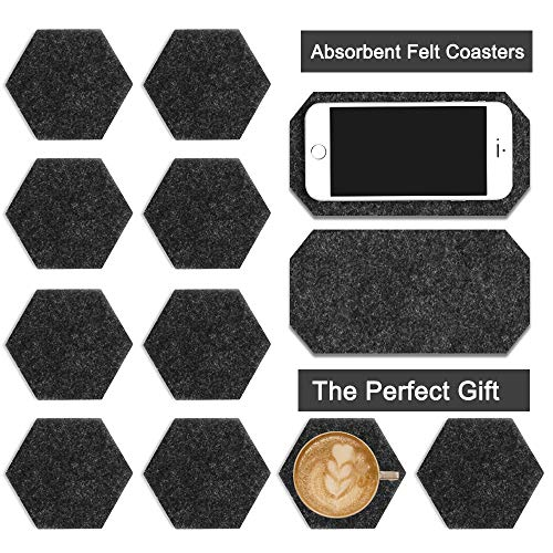 (Vencer Set of 10 Coasters For Drinks | Absorbent Felt Coasters With 2 Unique Phone Coaster | Perfect Housewarming Gift | Protects Table (Hexagon, Black) Modern Design)