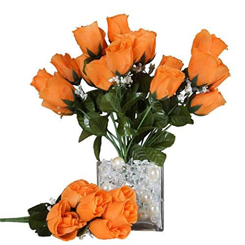 BalsaCircle 84 Orange Silk Rose Buds - 12 Bushes - Artificial Flowers Wedding Party Centerpieces Arrangements Bouquets Supplies