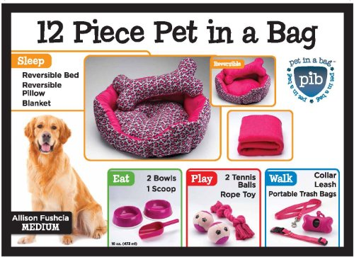 Allison Fuchsia 12 Piece Pet In A Bag Set , Medium