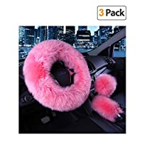 Younglingn Car Steering Whieel Gear Shift Handbrake Fuzzy Cover 1 Set 3 Pcs with Winter Warm Pure Wool for Girl Universal Fit Most Car(pink)