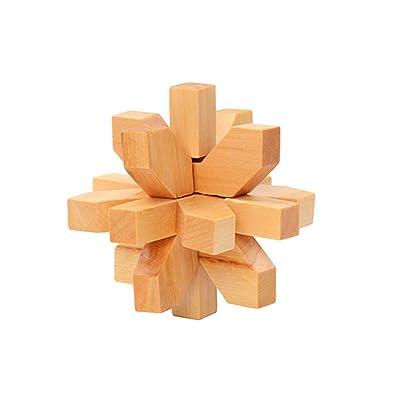 1 Conjunto de madera 3D KongMing bloqueo conjunto del enigma del rompecabezas clásicos Luban Jigsaw Cubo juego para niños y adultos (flor de ciruelo): Juguetes y juegos
