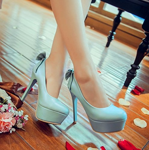 Heel Platform Shoes Mouth Shallow 13Cm Lady Shoes Elegant Spring MDRW Leisure Heels Bow Round Head Sweet Single Blue Waterproof High Fine 36 Women Work UfFq4