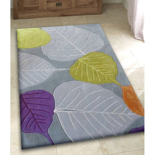 Gray Purple and Green Hand Tufted Area Rug size 5' x 7'