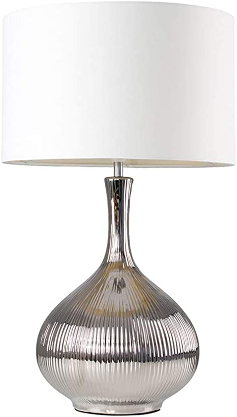 Extra Large Modern Silver Textured Ceramic Table Lamp with a White Fabric Shade Complete with a 6w LED GLS Bulb [3000K Warm White]