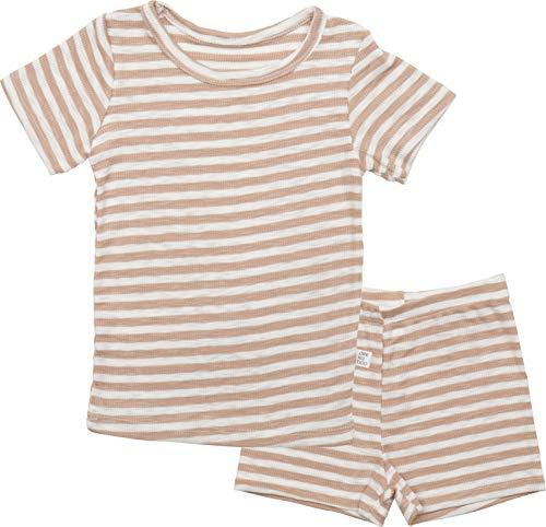 AVAUMA Pippi Style Newborn Baby Little Boy Girl Stripe Pajamas Summer Short Sleeve Sets Pjs Kids Clothes (L/Beige) -