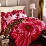 MEI 3D Oil Painting Bedding Set Queen Size 100% Cotton 4pcs Comforter Duvet Covers Bed Sheet Flat Sheet Pillowcase