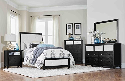 Homelegance Odelia PU Leather Upholstered Panel Bed, Twin, Black