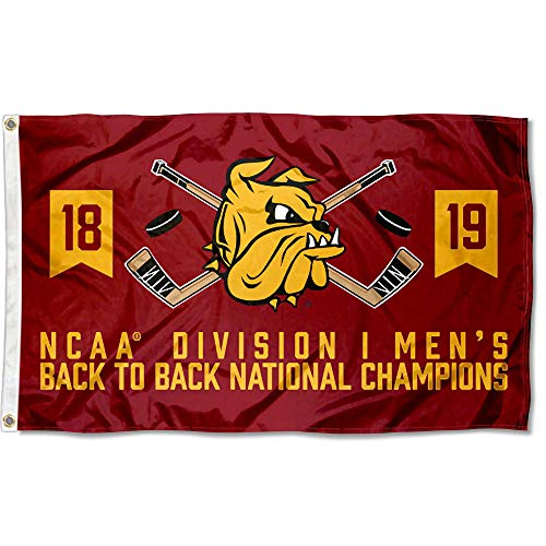College Flags and Banners Co. Minnesota Duluth Bulldogs 2019 Back to Back D1 Hockey Champions Flag
