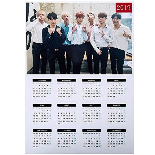 Teblacker BTS 2019 Wall Calendar, Kpop Bangtan Boys from 2019 to 2020 Yearly Wall Calendar Poster for The Army(42x30mm Style 15) ()