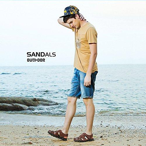 Cammello Mens Sandali Pescatore Pelle Traspirante Primo Dito Del Piede Sandalo Antiscivolo Regolabile Estivi Pantofole Usura Della Spiaggia Marroni
