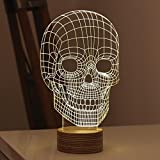 Protect 3d Glow LED Lamp - Kids Room Art Sculpture Lights Produces Unique Lighting Effects and 3d Visualization - Amazing Optical Illusion (Skull)