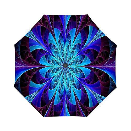 - Blue Kaleidoscope Fractal Umbrella Custom Umbrella, Folding Umbrella Rainproof & Windproof
