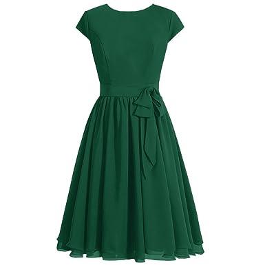 LadyKing Womens Knee-Length Chiffon Prom Dress Cap Sleeves Vintage Bridesmaid Dress US2 Dark Green