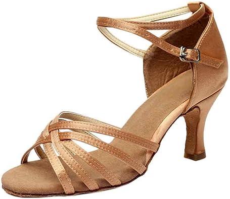 Amur Leopard Chaussure de Danse Latine Sandales Femme, Noir