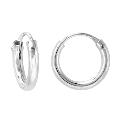 2920c74719470 2mm Thick Sterling Silver 12mm Endless Hoop Earrings for Ears Cartilage  Nose and lips 1/2 inch