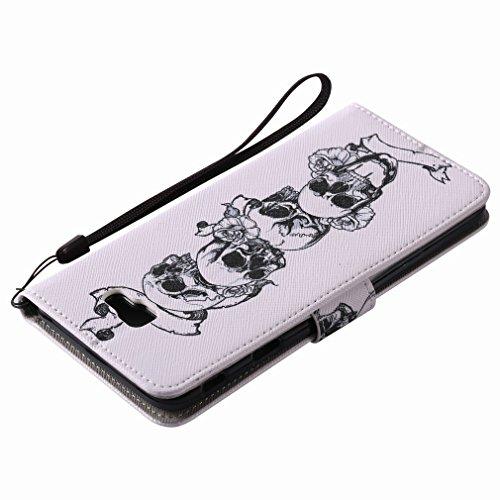 Yiizy Samsung Galaxy J7 Prime / Galaxy On Nxt Custodia Cover, Cranio Design Sottile Flip Portafoglio PU Pelle Cuoio Copertura Shell Case Slot Schede Cavalletto Stile Libro Bumper Protettivo Borsa