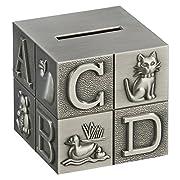 Creative Gifts International Pewter Brush Finish Alphabet Block Baby Bank